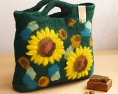 Felted wool tote bag purse---dark green with sunflowers