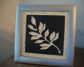 wall hanging art Black leaf Framed cut out design sign words gift shabby chic Christmas