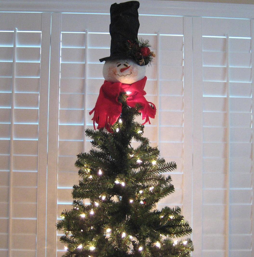 snowman gourd christmas tree topper. Black Bedroom Furniture Sets. Home Design Ideas