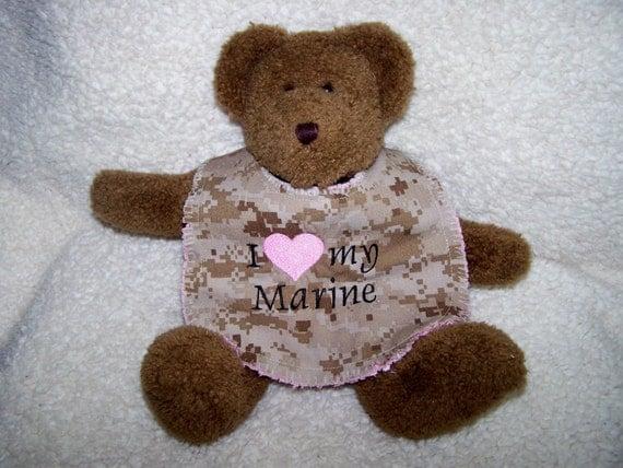 I Love My Marine - MARPAT Camo Baby Raggy Bib