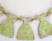 My Little French Dress Garland in Green and Pale Pink