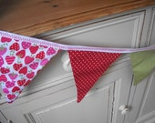 Fabric BUNTING 10 Flags - STRAWBERRIES and CREAM bunting - ideal for street parties, garden parties, summer weddings and much more