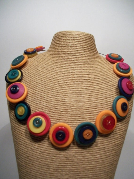Memory Wire BUTTON Necklace, BRIGHTS BUTTONS - Jelly Tots - Necklace