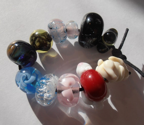 Mixed hand made lampwork bargain glass beads - seconds - odd lot of 11 SALE