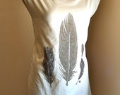 FEATHERS on Natural Fine Cotton T shirt dress