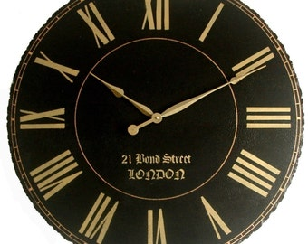 Large Wall Clock 30 inch London Towne  Antique Gallery Black Big Roman Round Tuscan