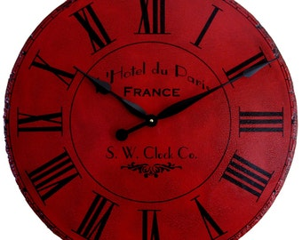 24 in Large Wall Clock Paris Hotel - Roman Round Antique Style Red Big Tuscan