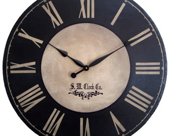Large Black Wall Clock large wall clock 30 inch marseille round dark black red