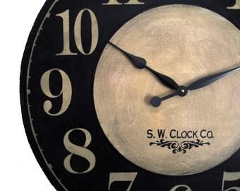 Large Wall Clock 24 inch Port Royal Wall Clock regular french numbers tuscan rustic black tan