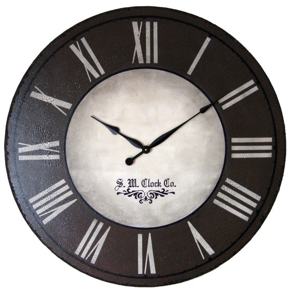 36 in Wellington Large Wall Clock - antique style wood tuscan brown tan rustic