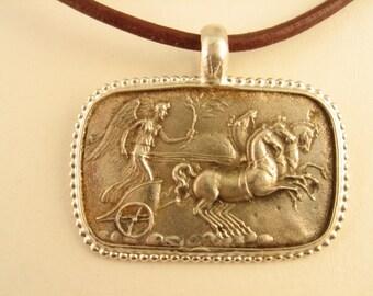 Greek Chariot Race  Sterling Silver Pendant