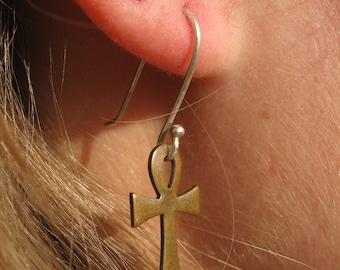 Egyptian Copper Ankh Earrings