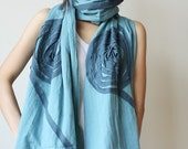 Cozy and Chic with Vine Floral in Blue Soft Cotton Scarf