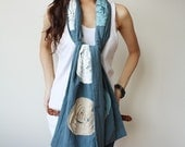 Cozy and Chic with Floral Soft in Blue Cotton Scarf