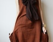 Mermaid  Brown cotton  Blouse/ Dress with 2 side Pockets and front Bow