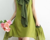 Mermaid Emerald Green Flutter cotton Dress with 2 side Pockets and front Bow