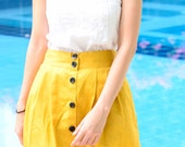 60's Style Full Skirt 3 Pleats Front in Narzissen  Yellow