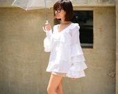 Ruffled Collar - Ruffled Long Sleeves - White Summer Top