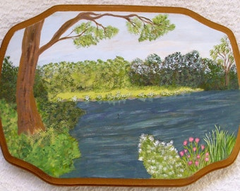 Country Lake, flowers, Tree Painting on Wood MJH Original