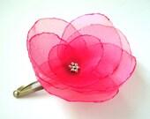 Cerise pink poppy flower snap clip