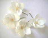reserved for jmkohmetscher - Isabelline white rosebud blossom wedding flower bobby pins (set of 4)