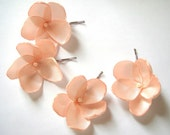 salmon peach rose blossom wedding flower bobby pins (set of 4) - ayawedding