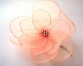 romantic salmon love rose blossom flower bobby pin