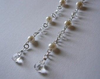 long crystal white quartz teardrops in pearls earrings