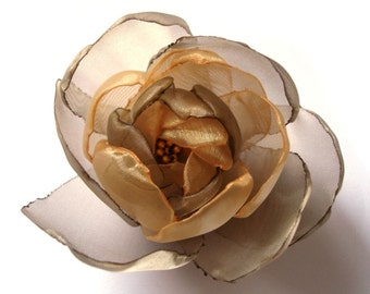 gold chocolate love big rose fall blossom flower brooch