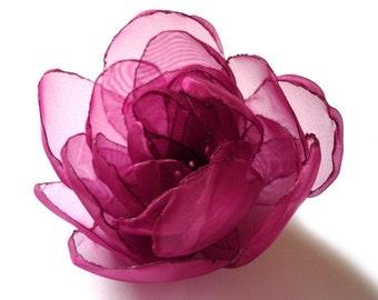 cherry ruby garnet big rose blossom flower brooch Christmas Gift for her under 25