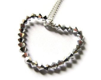 silver love heart swarovski necklace - sterling silver
