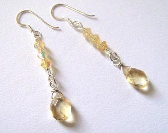 lemon gold citrine drop earrings in sterling silver