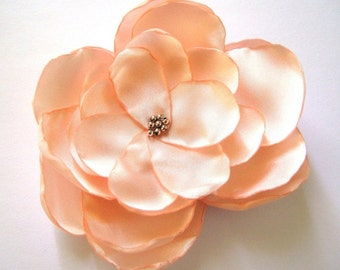 peach rose bloom bridal flower wedding hair comb