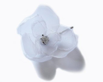 romantic ice white rose blossom flower bobby pin