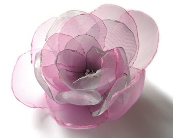 sweet pink silver big rose blossom flower brooch