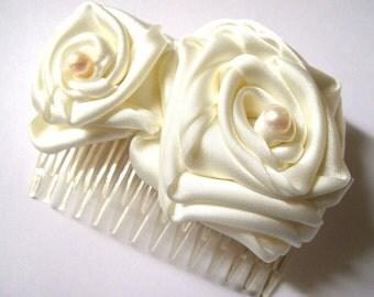 whimsical ivory white rose blossom wedding flower comb