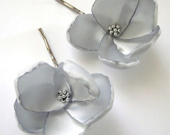 glitzy silver rose blossom wedding flower bobby pins (set of 2)