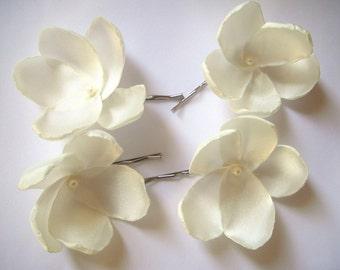 ivory cream white rose blossom wedding flower bobby pins (set of 4)