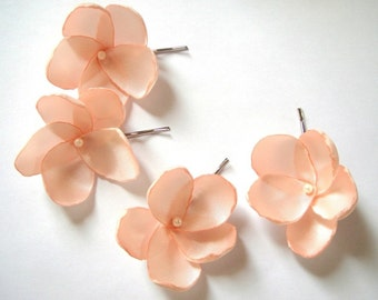 salmon peach rose blossom wedding flower bobby pins (set of 4)
