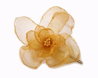 ON SALE romantic rose golden citrine blossom flower bobby pin