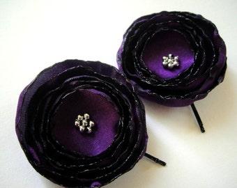 ON SALE amethyst plum rose blossom flower hair pins (2 pieces)