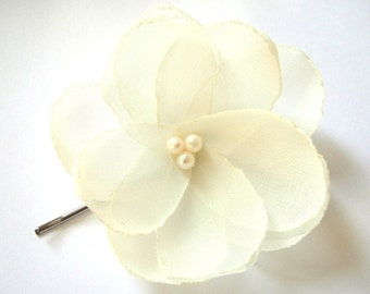 Ivory cream white rose blossom wedding flower bobby pin