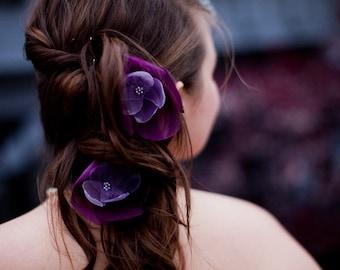ON SALE romantic amethsyt lilac purple rose blossom flower hair pins (2 pieces)