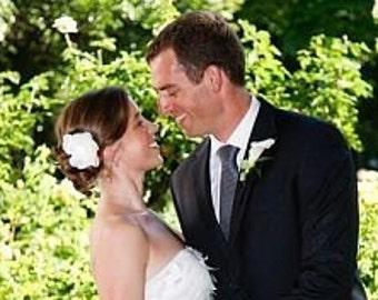 ivory  white peony blossom wedding flower comb