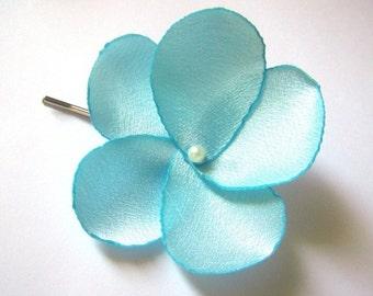 aqua blue rose blossom wedding flower bobby pins (set of 2)