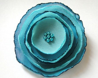 teal aqua blue poppy rose blossom wedding flower alligator clip