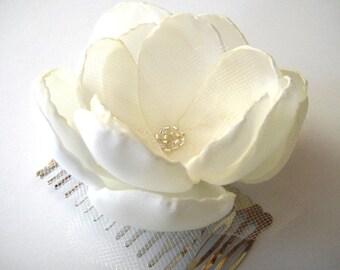 snow rose blossom wedding flower hair comb