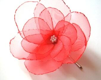 romantic strawberry pink rose blossom flower bobby pin