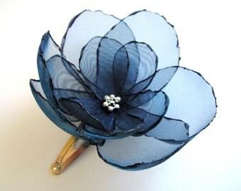 romantic cobalt blue rose blossom flower snap clip