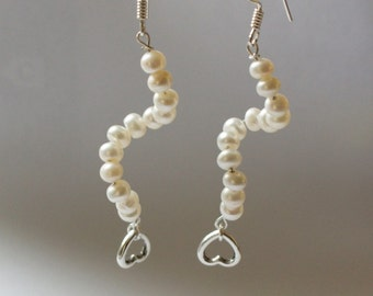 curly pearl love earrings for weddings - sterling silver